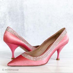 MIU MIU Pink Satin Crystal Embellished Pumps 6